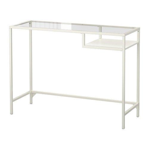 VITTSJO LAPTOP TABLE GLASS STEEL DESK, ADJUSTABLE FEET, WHITE by IKEA