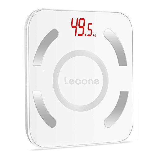Foccoe Báscula Electrónica de Baño,Balanza de Grasa Corporal Digital Bluetooth 4.0 Inalámbrica Inteligente,Color Blanco,...