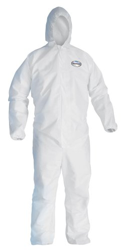 Kimberly-Clark KleenGuard A40 Microporous Film Laminate Liquid and Particle Protection Coverall with Hood, Disposable, Elastic Cuff, White, 2X-Large (Case of 25)