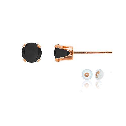 (Genuine 10K Solid Rose Gold 5mm Round Black Onyx Birthstone Stud Earrings)