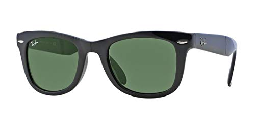 Ray-Ban RB4105 Folding Wayfarer Unisex Sunglasses (Black Frame/Crystal Green Lens 601, 50)