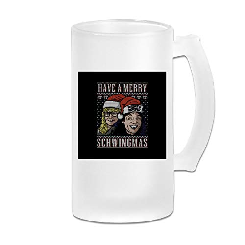 Printed 16oz Frosted Glass Beer Stein Mug Cup - Merry Schwingmas Christmas Waynes World - Graphic Mug
