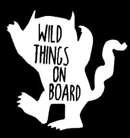 Wild Things On Board 6 White Vinyl Car Truck Decal Sticker Classics Awesome Fun Adorable Kids
