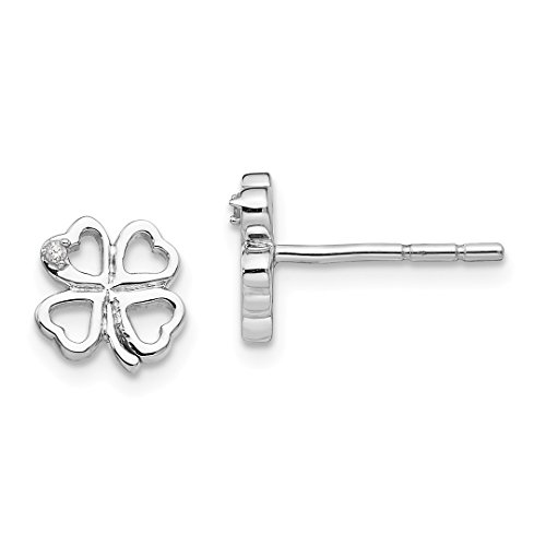 (925 Sterling Silver Diamond Clover Post Stud Ball Button Earrings Leaf Fine Jewelry For Women Gift)
