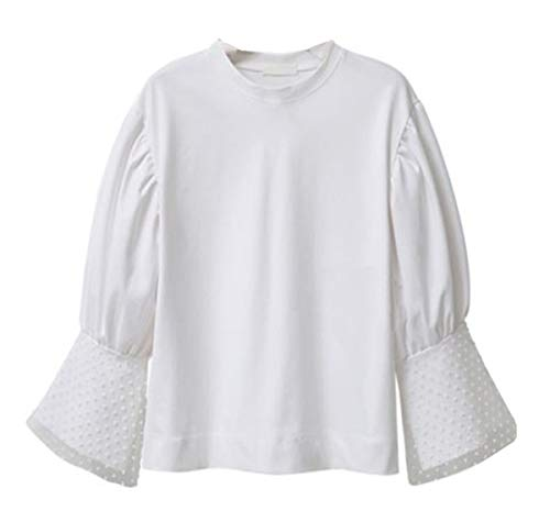 Col Taille Grande Blouse Top T Shirts JackenLOVE Sleeve Unie Couleur Flare Hauts Femmes Casual Fashion Lache Automne Tees Printemps et Jumpers Rond xORwRqXIa