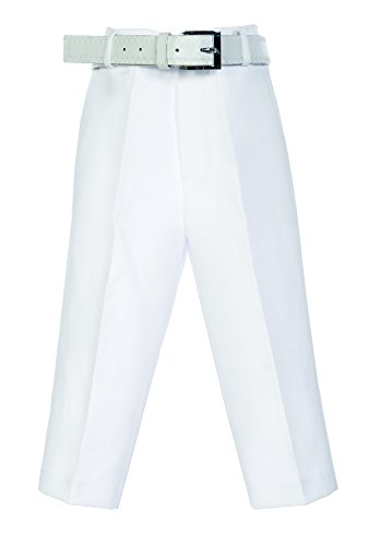 Bello Giovane Boys Flat Front Dress Pants with Belt (12, White) -