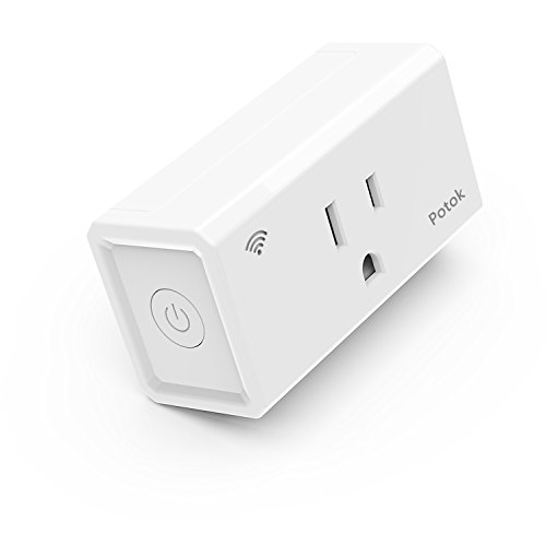 WiFi Smart Plug, Potok Mini Wireless Smart Socket Outlet with Timing Function, No Hub Required,Works with Alexa & Google Home, Control your Devices from Anywhere Via Free APP, Occupies Only One Socket -  PK10001212