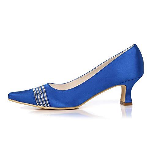 Cm Para 42eu Zapatos silver Tacón A 5 Mujer Con Altos 5 Hechos Hlg Boda Puntiaguda Satén Mano Tacón De Punta Tacones Bajo Y xFBHwqC