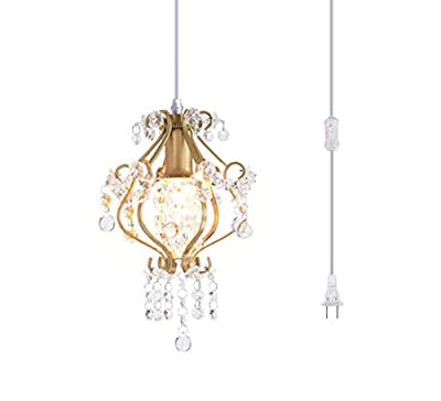Surpars House Elegant Mini Chandelier Plug in Crystal Pendant Light,Golden