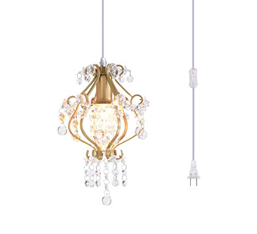- Surpars House Elegant Mini Chandelier Plug in Crystal Pendant Light,Golden