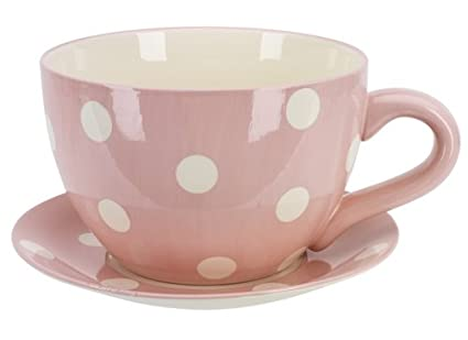 Ethos Giant Cup Saucer Planter Fruit Bowl Pink Polka Dots