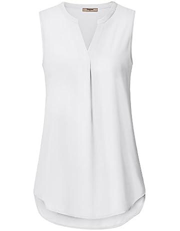 a2e35a1164c7aa Timeson Women s Casual Chiffon V Neck Cuffed Sleeve Blouse Tops