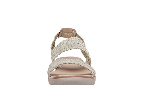 Easy Spirit e360 Talini 2 Offener Spitze Stoff Slingback Sandale Gold/ Gold Fabric