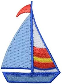 1PC~SAILBOAT~IRON ON EMBROIDERED APPLIQUE