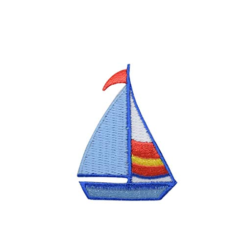 Sailboat Iron on Embroidered Applique Patch