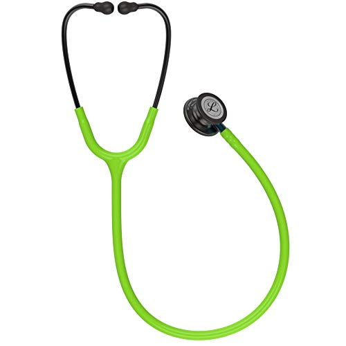 3M Littmann Classic III Monitoring Stethoscope, Smoke Chestpiece, Lime Green Tube, Blue Stem and Smoke Headset, 27 inch, 5875