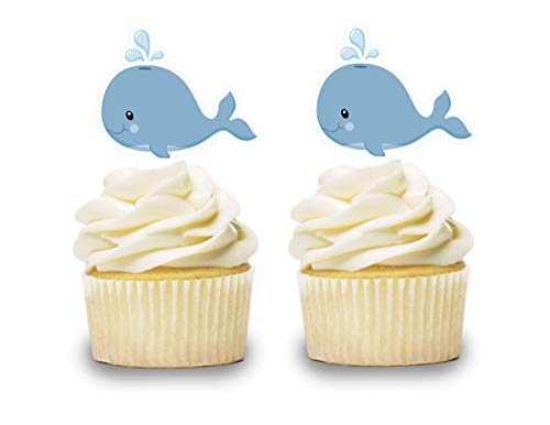 (Baby Blue Whale Cupcake Toppers 12 PCS, Cake Picks, Baby Shower, Ocean Sea Animals Birthday Party Decorations Supplies, Under the Sea)
