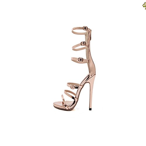 MZG Weibliche Sandalen High Heel Schnalle Dew The Dinner Party 100 Lap Schuh zu treffen gold