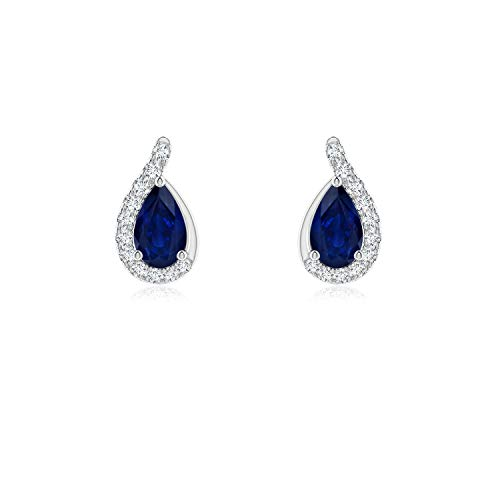 Pear Blue Sapphire Earrings with Diamond Swirl Frame in 14K White Gold (5x3mm Blue Sapphire) ()