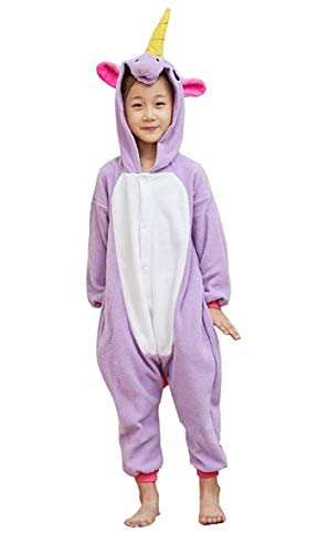 EcoOnesie Kids Purple Unicorn Costume Pajamas Animal Onesie One Piece Cosplay Halloween Homewear Outfits Size 6 ()