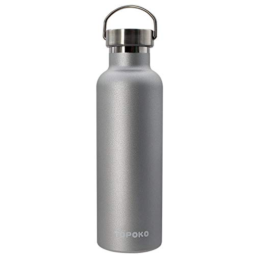 - TOPOKO 25 oz Stainless Steel Vacuum Insulated Water Bottle, Keeps Drink Cold up to 24 Hours & Hot up to 12 Hours, Leak Proof and Sweat Proof. Large Capacity Sports Bottle Wide Mouth Metal Lid (Grey)