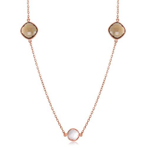 Sterling Silver Round & Cushion Smokey Quartz and Pink Amethyst Station Necklace (Cushion Smoky Quartz Necklace)