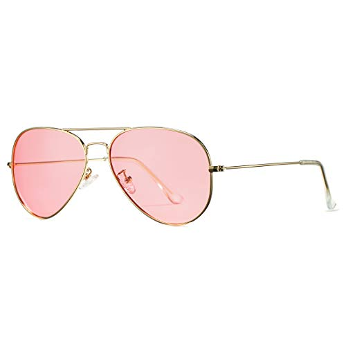 (COASION Classic Polarized Aviator Sunglasses for Men Women Mirrored UV400 Protection Lens Metal Frame (Gold Frame/Clear Pink Lens) )