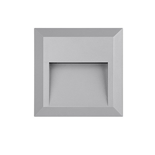 Stair Step LED Deck Light ZONK Outdoor Indoor Wall Mount Stairway Waterproof Square Landscape Lamp 120V, Grey (Residential Outdoor Brick)