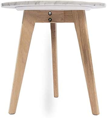 The Bianco Collection Cherie 15″ Round Italian Carrara White Marble Side Table