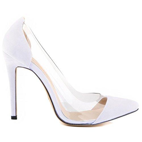 Astuce Bouche Pompes Xianshu Talons Colle Hauts Peu Blanche Chaussures Transparent Spike Couture Profondes Femme Bwwgq7E