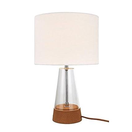 Lámpara de mesa BOTTLE 2, Pequeña lámpara de pie con soporte de vidrio y tela