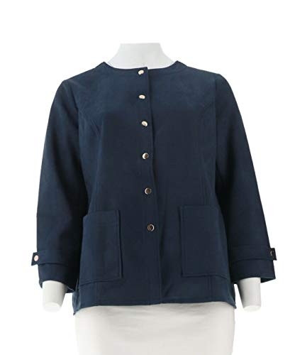 Bob Mackie Faux Suede Snap Front Jacket Navy XL New A302147