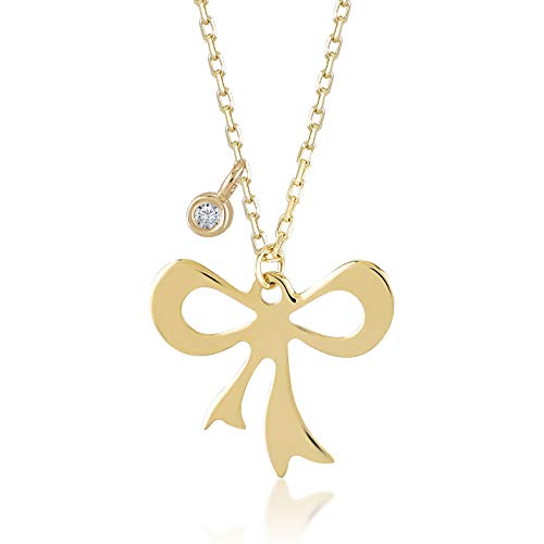 Gelin 14k Real Gold 0,01 ct Diamond Ribbon Bow Tie Pendant Necklace for Women, A Perfect Surprise Gift for Her, 18 inch