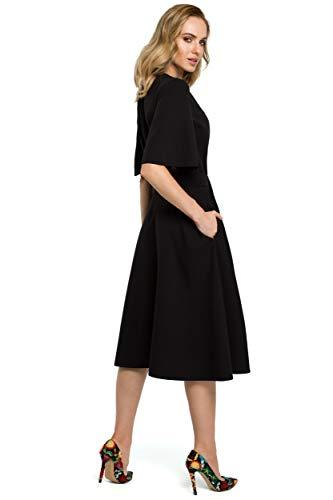 Hals Falten mit und Schwarz Kleid Seite an Schlitz am der Clea Fz0Z5nFW