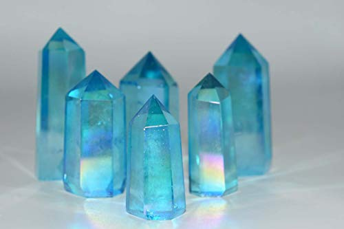 Nature's Enlightenment Aqua Angel Aura Quartz Point - Wicca, Pagan, Protection, Crystal Grid, Crystal ()