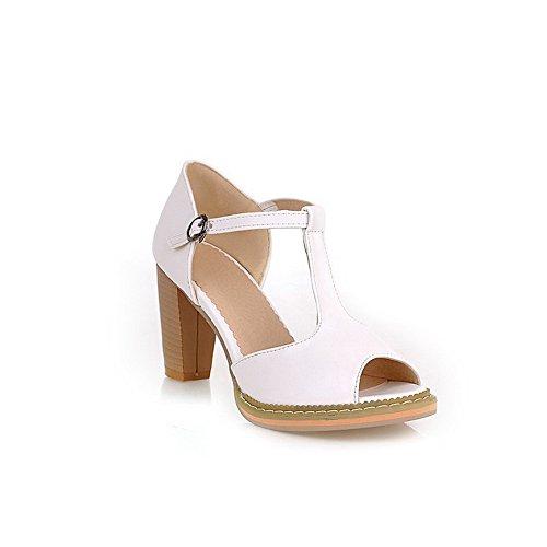 Amoonyfashion Donna Open Peep Toe Tacco Alto Materiale Robusto Morbido Pu Sandali Con Cinturino A T Bianco