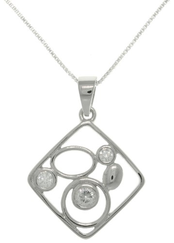 Jewelry Trends Sterling Silver Square Shape Geometric Pendant with CZ on 18