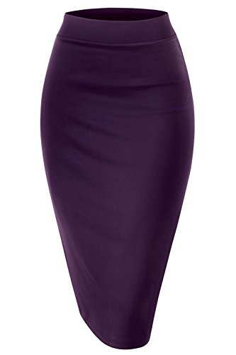 Women Elastic Waist Band Stretchy Fabric Pencil Skirt (Small, Banded_Plum) by Noble U