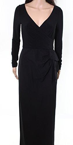 Lauren by Ralph Lauren Women's Scuba Knit Faux Wrap Long Column Gown in Black (2)