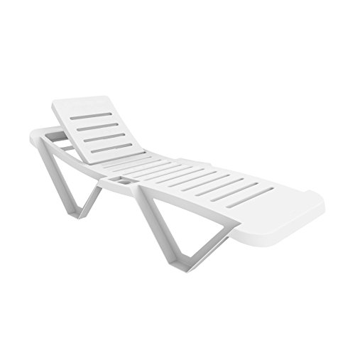 Resol Master Polypropylene Plastic White Sun Lounger (Sold Singularly) - UV Resistant, stylish and durable furniture for your garden