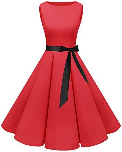 Bbonlinedress Women's 1950s Audrey Summer Vintage Rockabilly Swing Dress Red XS (Dress Audrey Dot Hepburn Polka)