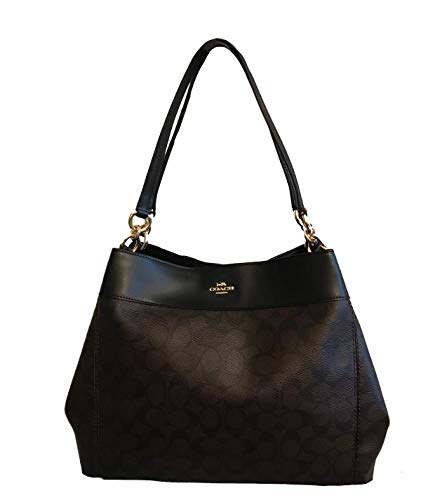 (COACH Lexy Shoulder Bag in Signature (Brown/Black))