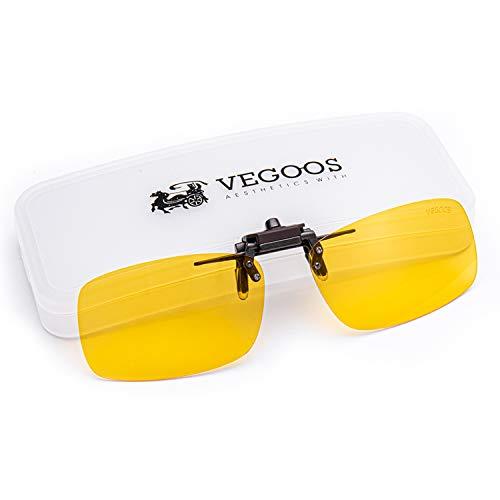 VEGOOS Yellow Night Vision Glasses Clips for Men Women Driving Anti Glare Flip up Sunglasses Over Prescription Glasses with Case 59mm