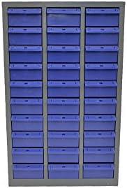スチール製 パーツキャビネット 部品 収納 パーツケース ボルト棚 工具 3列-10段 引き出し:ブルー L310-B