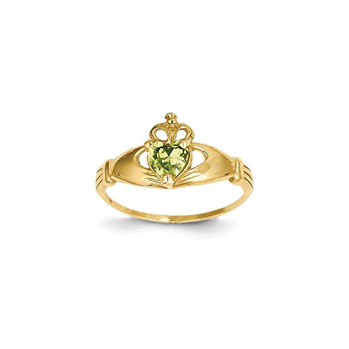 ICE CARATS 14k Yellow Gold Cubic Zirconia Cz August Birthstone Irish Claddagh Celtic Knot Heart Band Ring Size 7.00 Style Fine Jewelry Gift Set For Women Heart by ICE CARATS (Image #4)