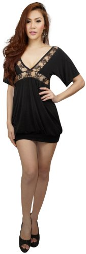 Garniture Dentelle V-cou Profond Femmes Clubwearguru Buste Mini-robe Noire Clubwear