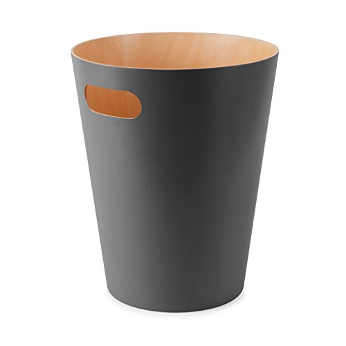Umbra Woodrow, 2 Gallon Modern Wooden Trash Can Wastebasket or Recycling Bin for Home or Office, Charcoal
