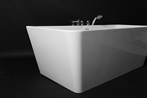 Kokss Iseo 67'' Modern Acrylic Bath Tub With Chrome Finish & Tub Filler Faucet, Freestanding, White, square, Rest, Bathe, Luxury spa hot tub, Seamless Bathroom Soaking, New 2016 Design Model by Kokss (Image #6)