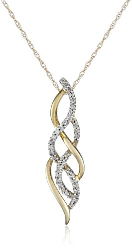 10K Yellow Gold Diamond Twist Pendant Necklace (1/4 cttw), 18