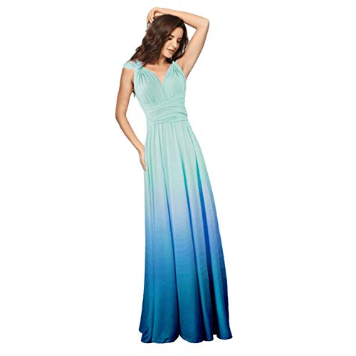 Women's Transformer Casual Gradient Color Deep V Neck Convertible Wrap Multi Way Dress Sleeveless Halter Formal Wedding Party Floor Length Cocktail Gown Long Maxi Dress Gradient Light Blue Medium